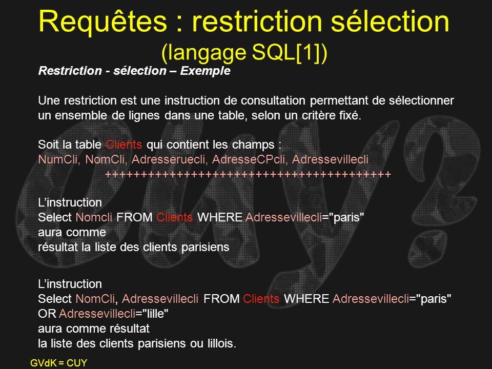 Requêtes : restriction sélection (langage SQL[1])